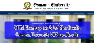 Osmania University M.Pharmacy Results 2021